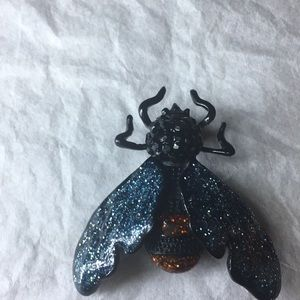 Jeweled & colorful fly brooch w/ red jeweled eyes